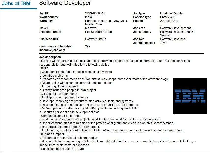 Prasad Innovations Ibm India Hiring Software Developers