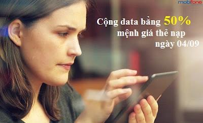Ưu đãi data bằng 50% cho TB Fast Connect Mobifone ngày 04/09