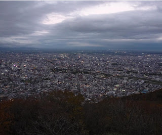 Sapporo city as seen from Mt Moiwa at dusk
