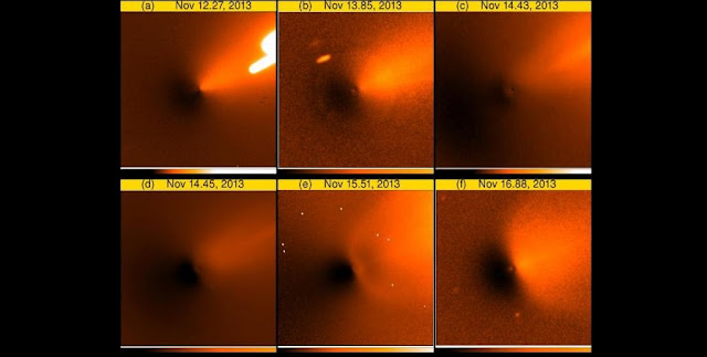 A series of digitally enhanced images showing the evolution of ISON's coma morphology after an outburst event that occurred on Nov. 12, 2013. Notice the development of wing-like coma features approximately two days after the outburst.  Image credits: N. Howes and colleagues; Z.-Y. Lin and colleagues; D. Vogel; C. Pruzenski and colleagues; and E. Gomez and colleagues).