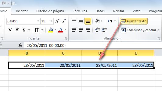 Ajustar texto de fechas con formato personalizado ~ JLD Excel en