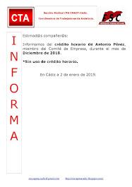 C.T.A. INFORMA CRÉDITO HORARIO ANTONIO PÉREZ, DICIEMBRE 2018