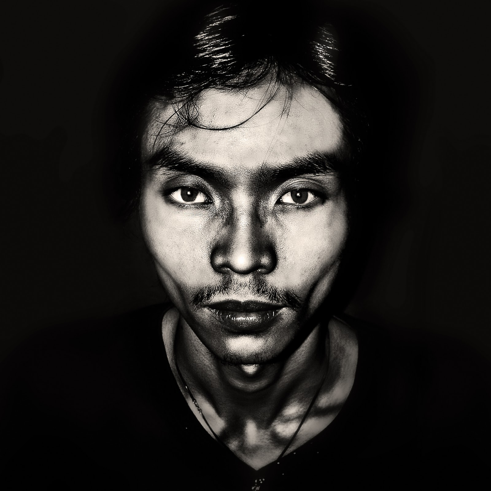 High contrast s portrait in square format