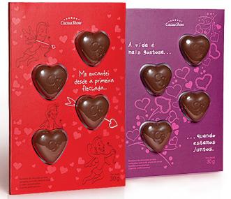 cartão corações de chocolate Dia dos Namorados Cacau Show
