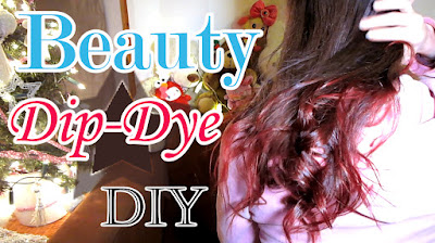 Dip dye brown hair with red