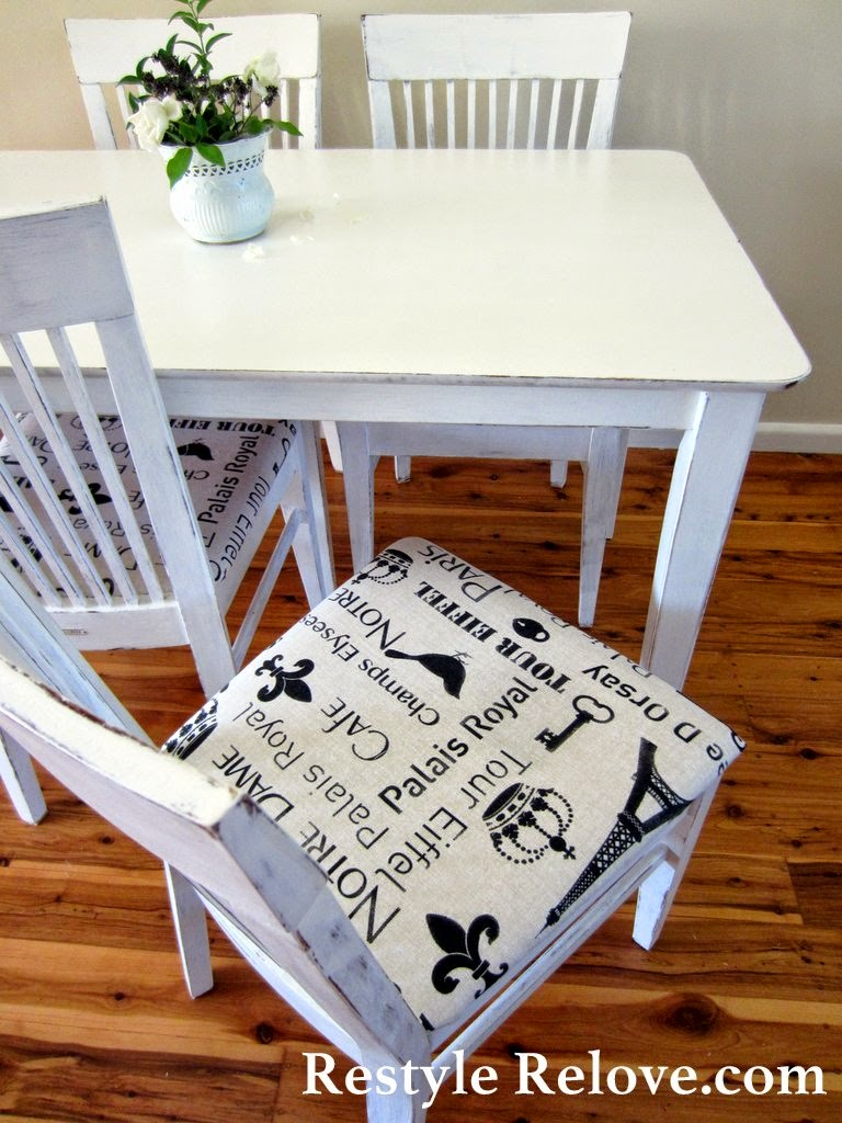 french farmhouse table and chair set restyled. Black Bedroom Furniture Sets. Home Design Ideas