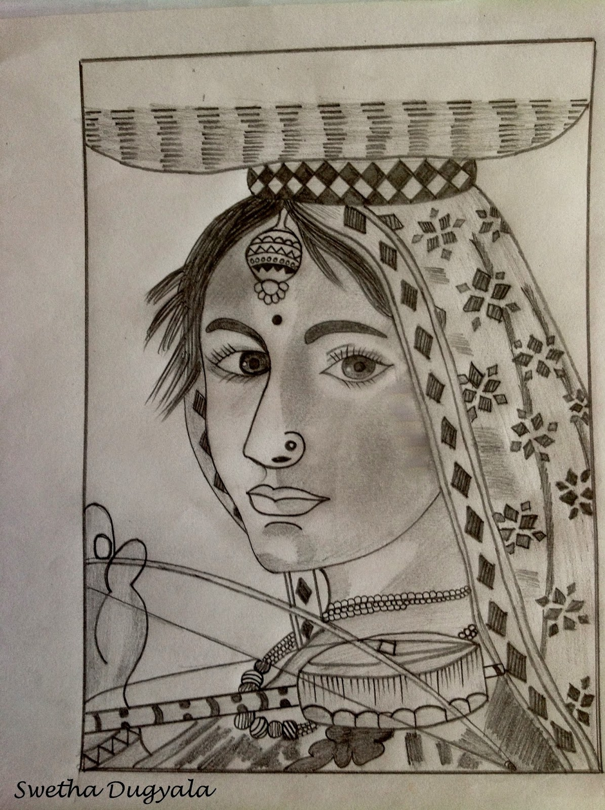 Pencil sketch of a village girl
