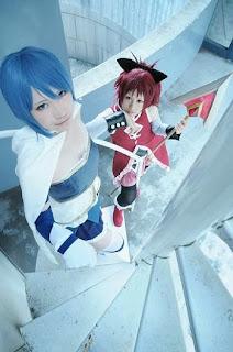 Madoka Magica Sayaka and Kyouko cosplay by Shima and Watomune