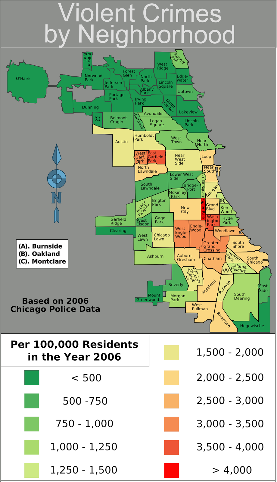 Map Of Chicago You Can See A Map Of Many Places On The List On - Crime map nyc neighborhood
