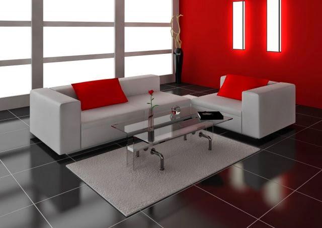 Jr mueblerias decoraci n moderna rojo negro y gris for Decoracion piso rojo