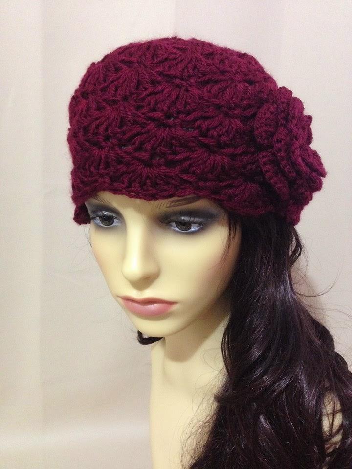 Crochet A Beanie : Handmade Laremi: Burgundy beanie, Crochet beanie, Chunky hat for women