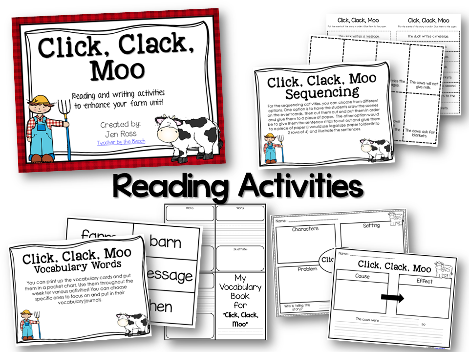 Click Clack Moo Reading And Writing Activities Teacher By The