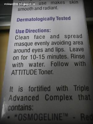 Amway Attitude Face Masque Usage