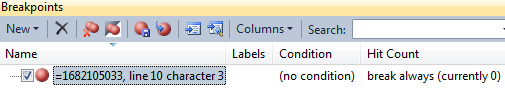 view breakpoints window in ssms