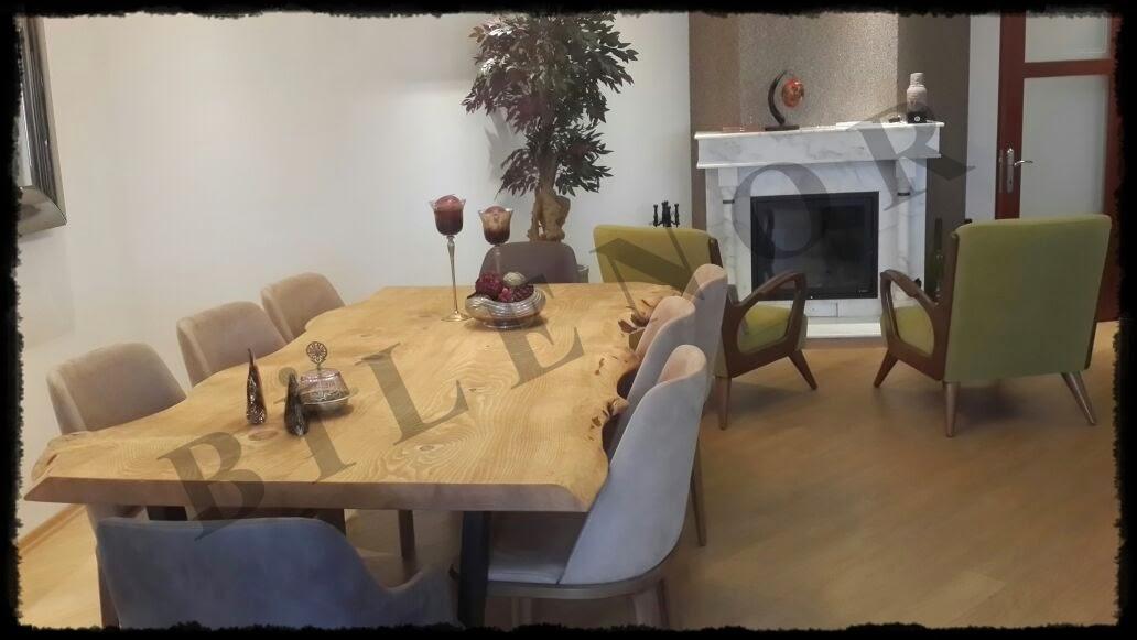 Doğal ahşap yemek masası