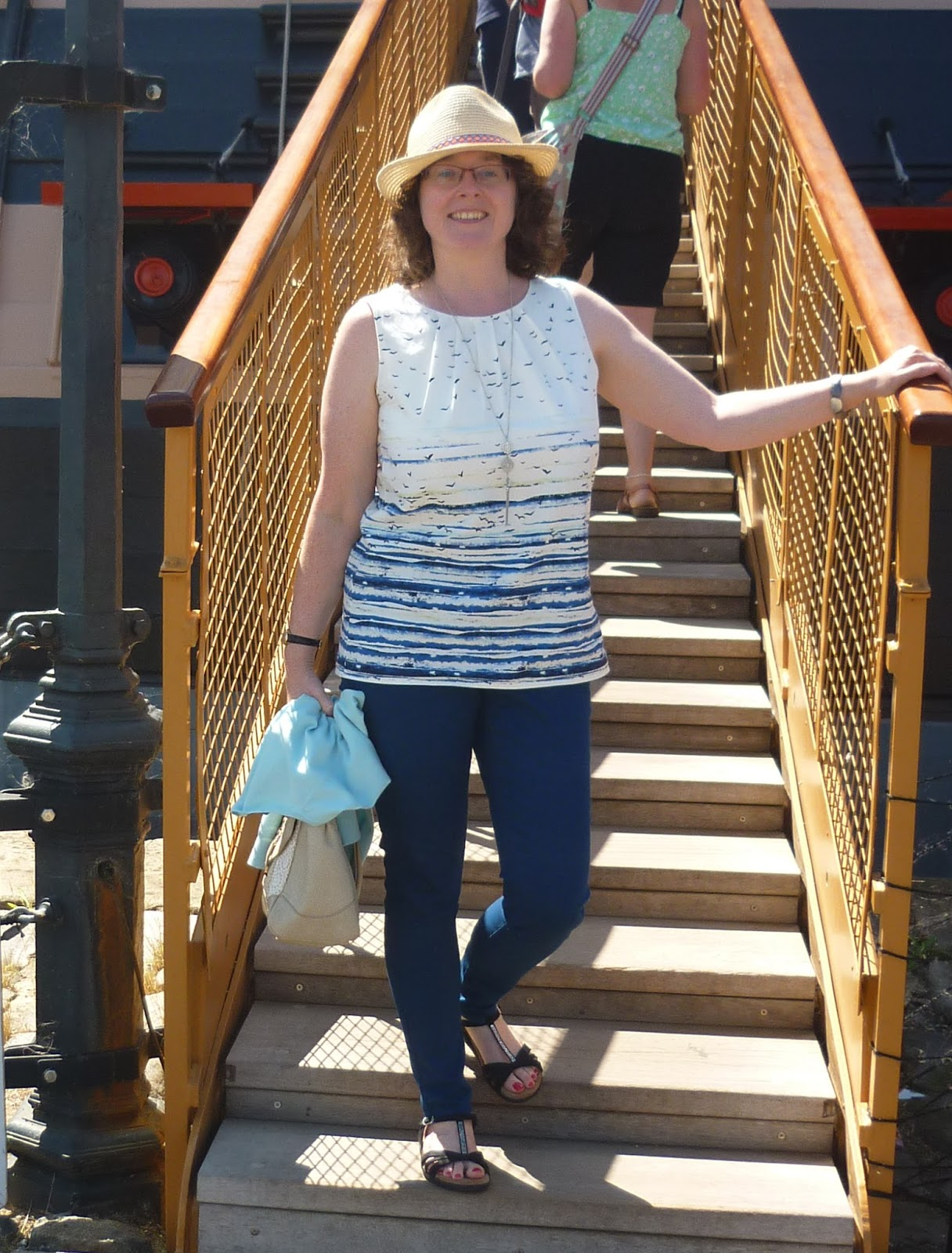 Seascape Print Top & Blue Jeans on HMS Victory | Petite Silver Vixen