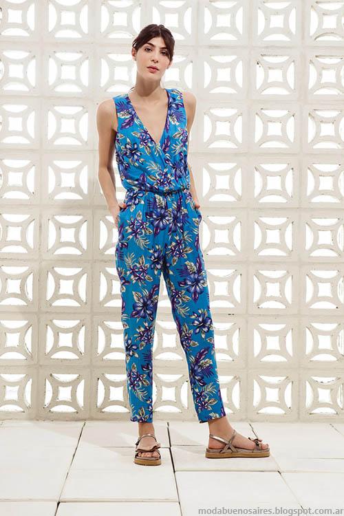 Monos estampados a la moda. Moda primavera verano 2015, ropa de mujer estilo casual urbano, colección Clara 2015.