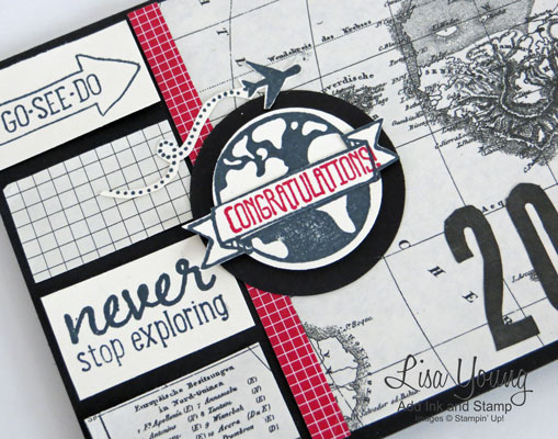 Stampin' Up! Project Life Let's Get Away stamp set. Graduation Card with World map and globe. Handmade card by Lisa Young, Add Ink and Stamp
