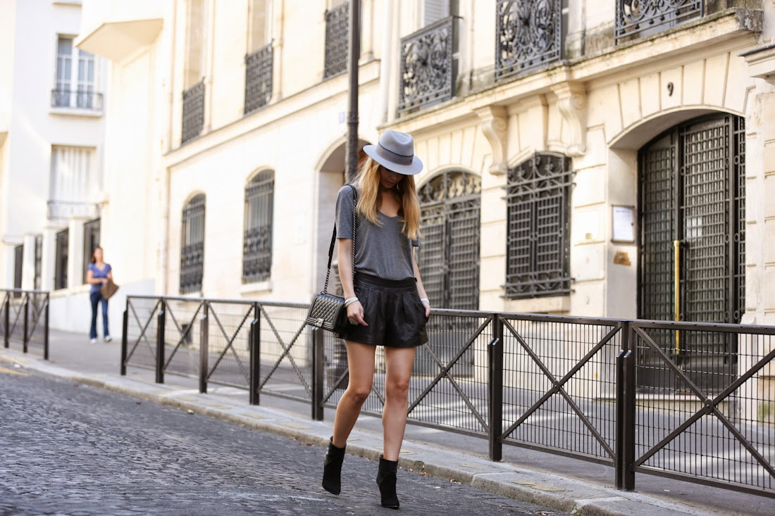 isabel marant, iro, parisian, chanel, maison michel, leather shorts, boots, outfit, look du jour, fashion blogger, streetstyle