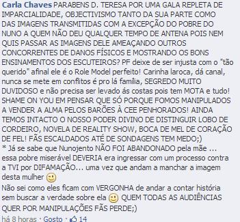 Teresa Guilherme muito criticada no facebook