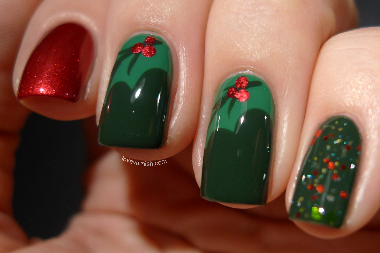 Love Varnish Christmas Nails Holly Leafs