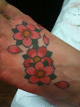 Clawtattoos Cherry Blossom Foot Tattoo
