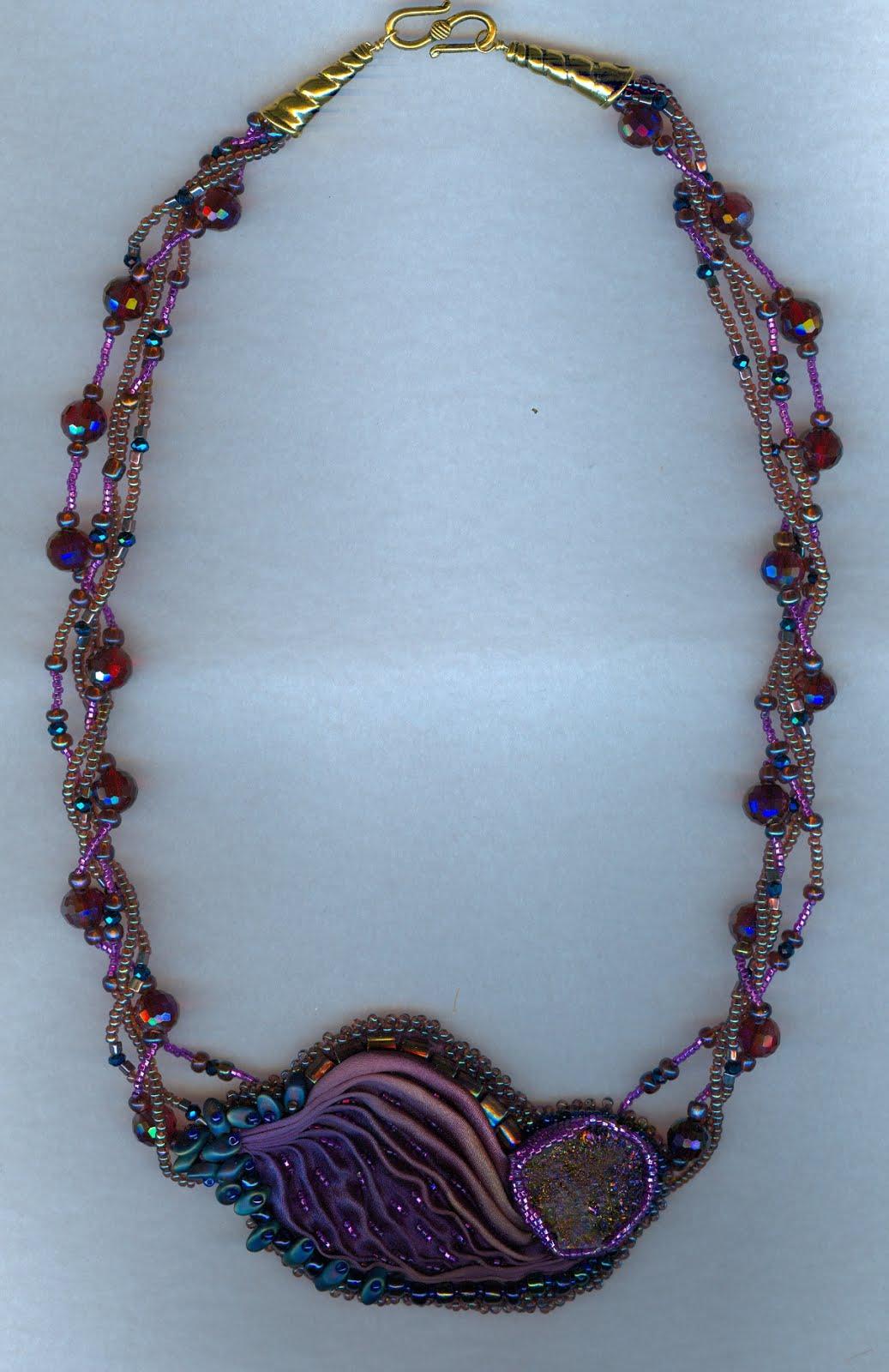 Shibori Silk and crystals with Druzy