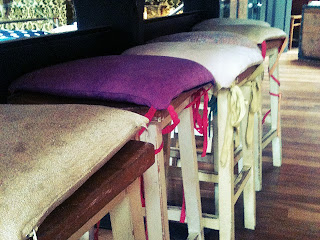 Stool cushions at the Cosy Club