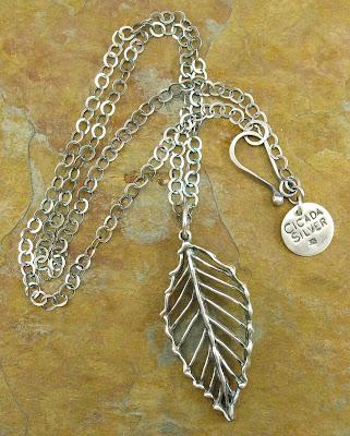 PMC fine silver leaf pendant by Cicada Silver