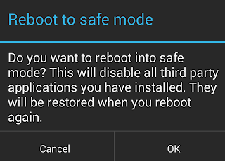 Android Safe Mode Reboot Dialog