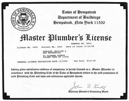 Plumbing apprentice license