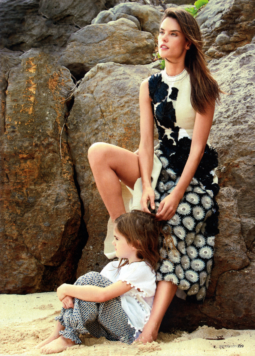 Alessandra Ambrosia & Anja photographed by Patrick Demarchelier for Glamour April 2015 / baby girl, mother & daughter fashion editorials / models & their children / via fashioned by love british fashion blog