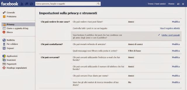 Opzioni privacy - Facebook