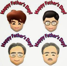 父の日のパパたちと「HappyFather'sDay」のイラスト