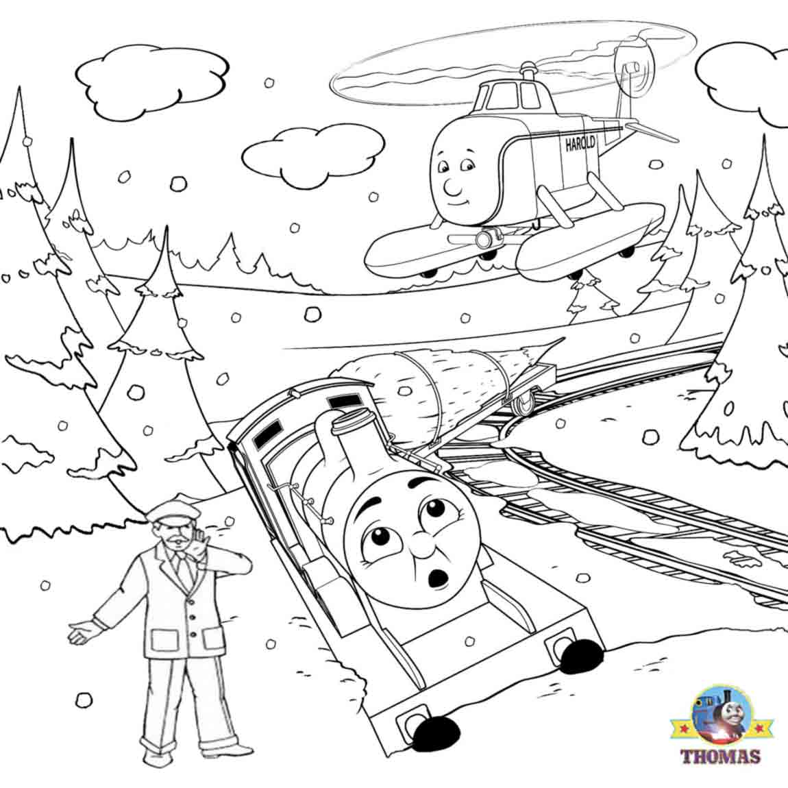 Coloring page one horse open sleigh - Christmas Tree Train James Thomas The Tank Engine Winter Coloring Pages For Kids Indoor Activities