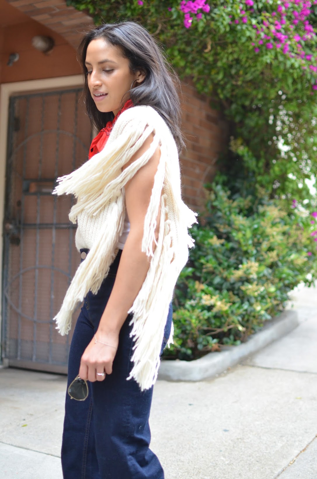 70's style, fringe sweater, fringe, red bandana, high-waisted denim, ASOS, high-waisted flares, 70's style icon, Jane Birken, Three's Company, Joyce DeWitt