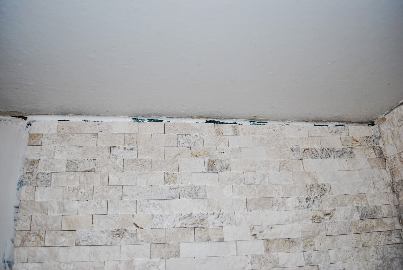 filling in gaps with stacked stone tile