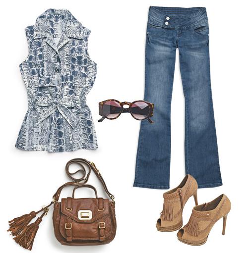 corte costura moda estilo look fashion básico jeans peeptoe sandalia
