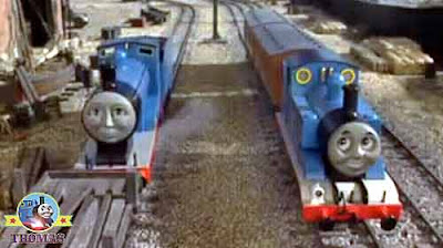 Something magical Edward the blue engine Thomas the train engine the end of a rainbow in the sky