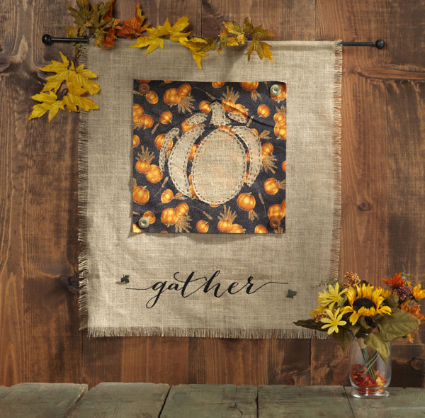 Gather Burlap Banner @craftsavvy #craftwarehouse #burlap #fall #wallhanging #diy