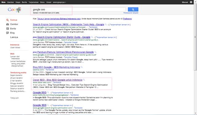 Hasil Keyword Google SEO di SERP Google Indonesia