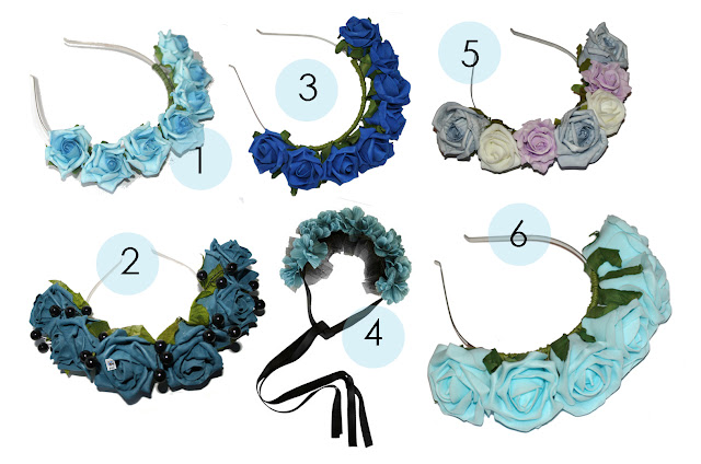 floral crowns, roses and clementines flower crowns, floral headband, headwear, rose crown, rose garlands, summer, blue rose heabands, blue rose crowns, how to wear floral headwear for the summer uk fashion