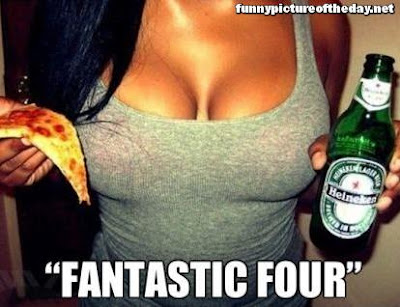 Fantastic Four Funny Men Humor Pizza Boobs Beer