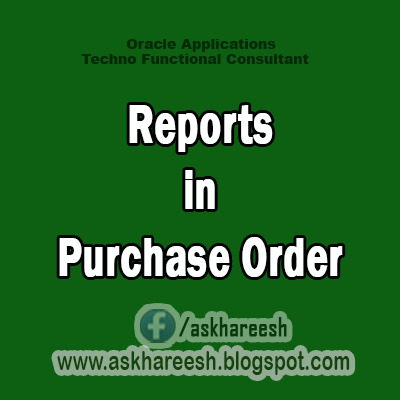 Reports in Purchase Order