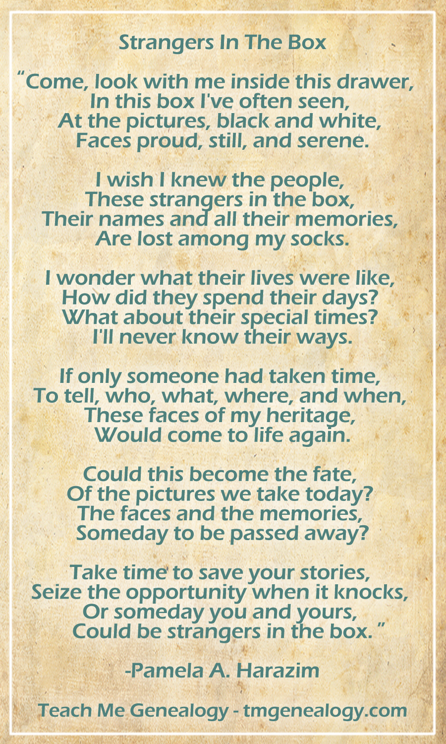 Strangers In The Box - By: Pamela A. Harazim ~ Teach Me Genealogy