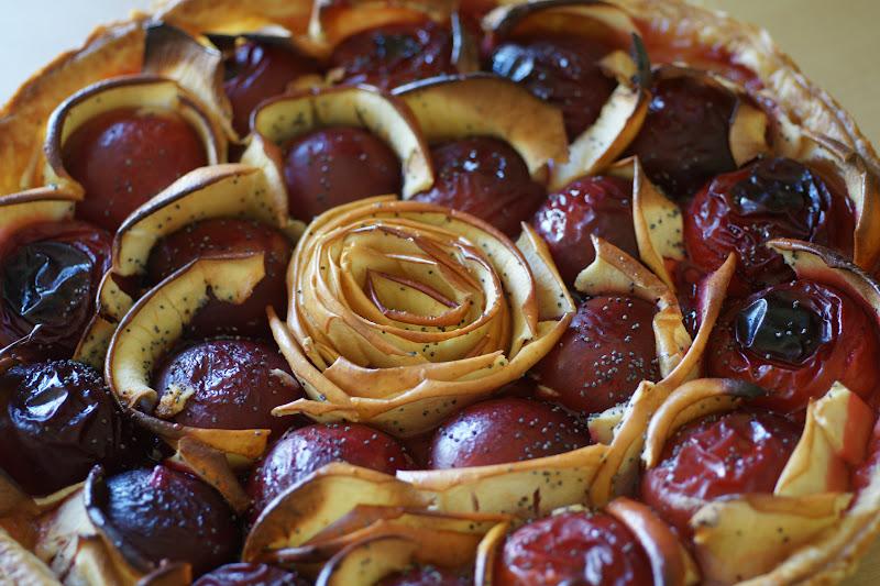 Les floril ges culinaires de floriane tarte aux prunes pommes fleur d 39 oranger miel et pavot - Recette tarte salee originale ...