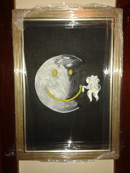 umetnička slika DO MESECA-ulje na platnu,umetnik Vladisav art Bogićević-slikar udruženja Luna-Niš