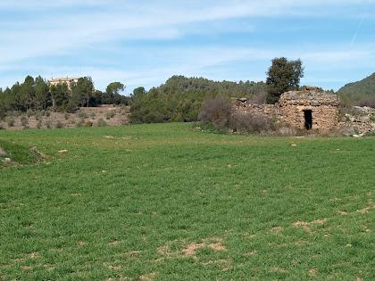 Situació de la barraca de vinya respecte al mas del Pinell del Bosc