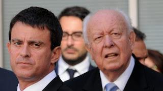 Le ministre de l'Intérieur, Manuel Valls, et le sénateur-maire UMP de Marseille, Jean-Claude Gaudin, le 21 septembre 2012 à Marseille.