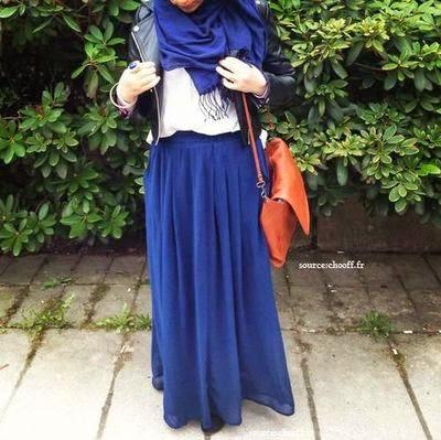 Hijab style jupe bleu